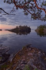 Preview iPhone wallpaper Russia, Lake Ladoga, trees, islands, dusk