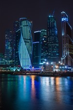 Preview iPhone wallpaper Russia, Moscow, skyscrapers, night, river, lights