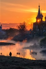 Preview iPhone wallpaper Russia, village, church, river, fog, morning