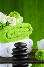Preview iPhone wallpaper SPA theme, towel, green flowers, bamboo, stones, salt