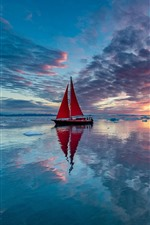 Sailboat, sea, clouds, ice, sunset, water reflection