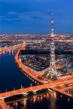 Preview iPhone wallpaper Saint Petersburg, Russia, city night view, tower, bridge, river
