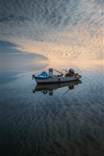 Preview iPhone wallpaper Sea, boat, sky, clouds, water reflection