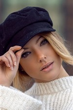 Short hair girl, blonde, hat, white sweater