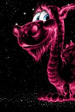 Preview iPhone wallpaper Smile dragon, purple light, stars, creative picture