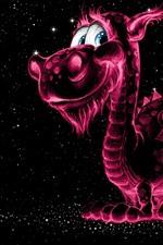 Preview iPhone wallpaper Smile dragon, purple light, stars, creative picture