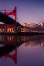 Espanha, bilbao, ponte, museo, rio, anoitecer