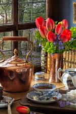 Preview iPhone wallpaper Still life, red tulips, kettle, lamp, window, tea, cake, books