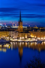 Preview iPhone wallpaper Stockholm, Sweden, city, night, river, ship, lights