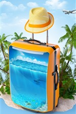 Preview iPhone wallpaper Suitcase, sea, fish, palm trees, tropical, creative picture