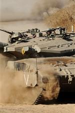 iPhone обои Танк, пыль, оружие, армия