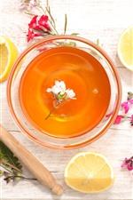 Preview iPhone wallpaper Tea, flowers, lemon, honey