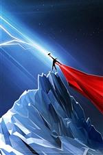iPhone обои Тор, молния, горы, ночь, художественная картина