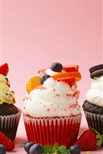 Three kinds of cupcakes, strawberry, blueberry, cream