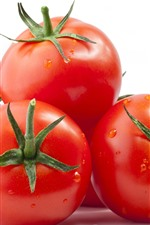 Preview iPhone wallpaper Tomatoes, vegetable, white background