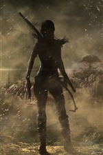 Preview iPhone wallpaper Tomb Raider, Lara Croft, back view, ship, wind