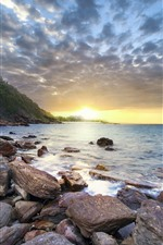 Preview iPhone wallpaper Tropical, stones, sea, clouds, sun rays, summer