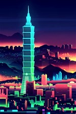 Vector picture, Taiwan, city, skyscrapers, art