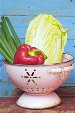 Preview iPhone wallpaper Vegetables, bowl, peppers, onion, cabbage, tomatoes, still life