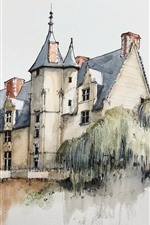 Watercolor painting, village, house