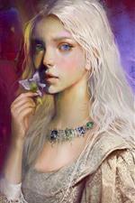 White hair girl, art painting