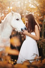White skirt girl and white horse, forest