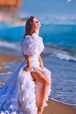 White skirt girl, bride, sea, beach, birds