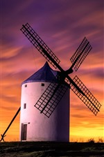 Preview iPhone wallpaper Windmill, sunset, sky