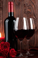 Wine, red roses, bottle, cup, candle