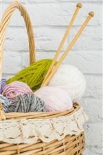 Preview iPhone wallpaper Wool thread, basket, wall