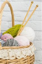Wool thread, basket, wall