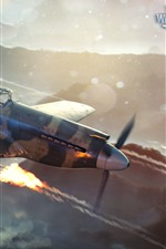 Preview iPhone wallpaper World of Warplanes, fighter, flight, sky, clouds