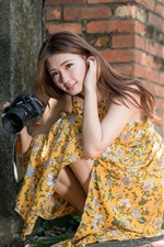 Preview iPhone wallpaper Young Asian girl, long hair, camera
