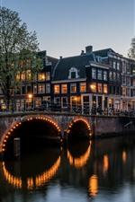 Amsterdam, night, city, river, bridge, houses, trees, lights