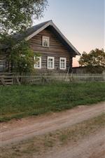 Preview iPhone wallpaper Arkhangelsk oblast, village, road, trees