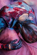 Preview iPhone wallpaper Art photography, girl, colorful paint, silk