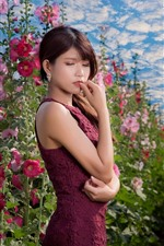 Preview iPhone wallpaper Asian girl, purple skirt, pink flowers, sky, clouds, summer