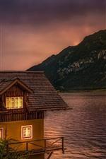 Áustria, lago, hallstatt, casa, anoitecer