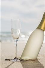 Praia, copos de vidro, champanhe, sol