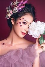미리보기 iPhone 배경 화면 아름다운 아시아 소녀, 흰 모란, 치마