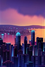 Linda noite de Hong Kong, arranha-céus, imagens de vetor