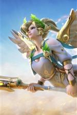 Beautiful angel, blonde girl, wings, flight, sky, fantasy