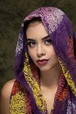 Preview iPhone wallpaper Beautiful girl, brown eyes, silk scarf