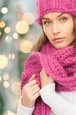 Preview iPhone wallpaper Beautiful girl, sweater, pink scarf, light circles