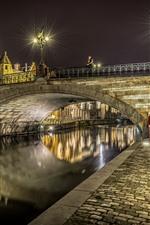 미리보기 iPhone 배경 화면 벨기에, 브뤼헤, 강, 다리, 밤, 조명, 도시