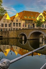 Preview iPhone wallpaper Belgium, Brugge, river, bridge, houses, city, dusk