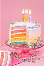 Preview iPhone wallpaper Birthday cake, colorful layers, rainbow color, candles, flame