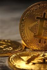 Bitcoin, moeda de ouro, dinheiro digital