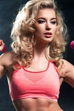 Preview iPhone wallpaper Blonde girl, hairstyle, fitness