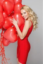 Preview iPhone wallpaper Blonde girl, happy, red love heart balloons